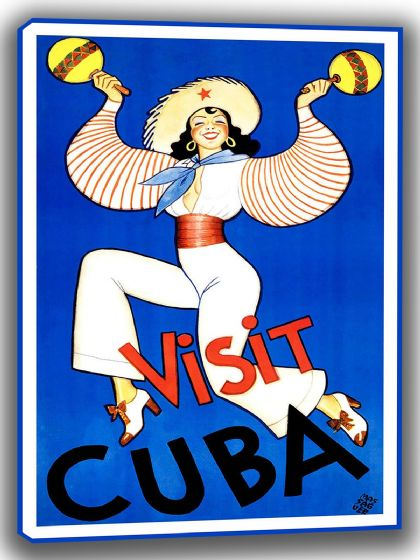 Visit Cuba. Vintage Travel/Tourism Canvas. Sizes: A4/A3/A2/A1 (002729)